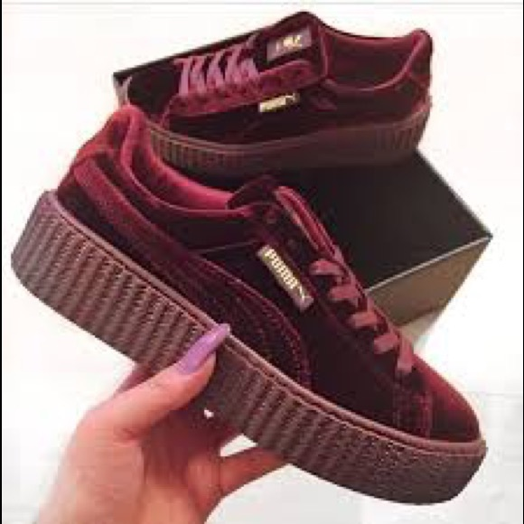 new style d9659 9de67 NEW Rihanna fenty puma creepers red velvet